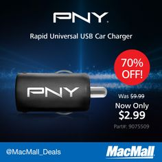 70% OFF #PNY Rapid Universal USB Car Charger for iPhone, iPad & Smartphones.