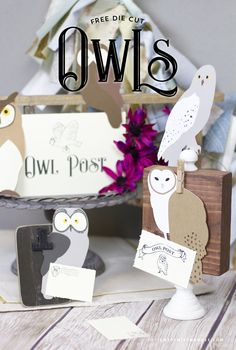 FREE Die Cut Owls – Harry Potter Owl Post Part 1 - Designs By Miss Mandee. Make your very own owls for your Harry Potter party or fall card. Harry Potter Owl, Harry Potter Baby Shower, Diy Back To School Supplies, Harry Potter Birthday Cards, Harry Potter Party Decorations, Harry Potter Printables, Birthday Card Design, 6th Birthday Parties, Crafty Projects