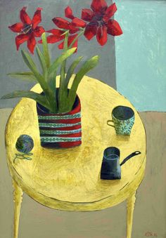 'Red Amaylis' by Este McLeod. Example of similar work to be seen in the Floral exhibition at gallerytop starting 28 june 2014
