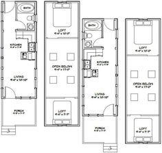 10x28 2-Bedroom 1-Bath Tiny Houses 466 sq by ExcellentFloorPlans