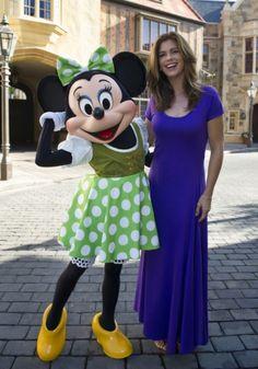 Kathy Ireland with a Irish Dressed Minnie Mouse
