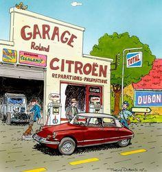 Citroën DS by Thierry Dubois Citroen Ds, Peugeot 203, Pompe A Essence, 2cv6, Old Gas Stations, Car Illustration, Car Posters, Poster Vintage, Commercial Vehicle