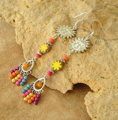 Boho Turquoise Coral Earrings Turquoise Statement by BohoStyleMe