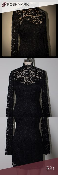 Black Lace Mini Dress Chic black lace mini dress! The high neck and long sleeves perfectly balance this leg baring lbd. Previously owned, in good condition. So versatile that it could be worn to homecoming, holiday parties, bachelorette parties, or anytime you want to wow them with sass and class. Evan Picone Dresses