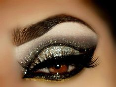 Heavily lined, bold silver glitter with cut crease #eye #makeup #eyeshadow #dark #black #eyes #dramatic #glitter