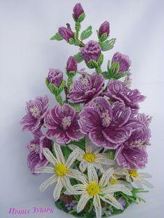 Мальва в цвету | biser.info - всё о бисере и бисерном творчестве