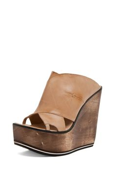 CoSTUME NATIONAL Nudge Slip On Wedge in Beige - @WOMENSHOES