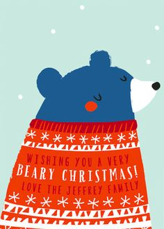 Rustic Animal Holiday Card. Wish your loved ones a Beary Christmas with this design by Angela Thompson on Minted.com