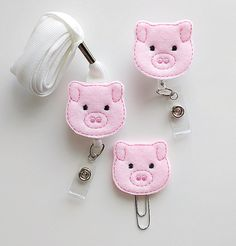 Pig Feltie Paperclip | Badge Reel | ID Badge | Felt Badge | Badge Holder | Lanyard | Planner Clip | Planner Accessories | Animal Feltie