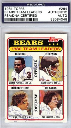 Walter Payton, James Scott, Len Walterscheid & Dan Hampton Autographed 1981 Topps Card #264 PSA/DNA #83584048