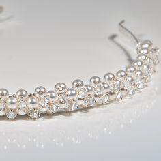 Pearl & Crystal head piece, Swarovski alice band, White pearl wedding headband £47.00