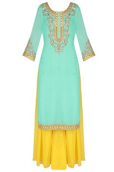 Sanna Mehan presents Turquoise mirror embroidered kurta and sharara set available only at Pernia's Pop Up Shop. Punjabi Fashion, Ethnic Fashion, Indian Fashion, Women's Fashion, Latest Fashion, Luxury Fashion, Indian Attire, Indian Wear, Pakistani Outfits