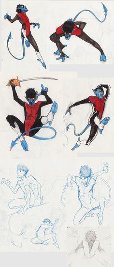 Dump #11 (More Kurt!) by MonoFlax.deviantart.com on @DeviantArt #bamf #blue #kurtwagner #marvel #nightcrawler #xmen Kurt with swords, Kurt leaping, Kurt Kurt Kurt...  I think I haven't really uploaded a lot of him in this version yet. Only the Inktober #31 drawing. He's so much fun to draw!