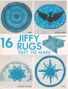 16 Jiffy Rugs, Easy to Make, Rag Rug Instructions, Cross Stitch Rug, Latch Hook Rug, Rya Rug Making, Needlepoint Rug, Hand Made Rug, 1960s