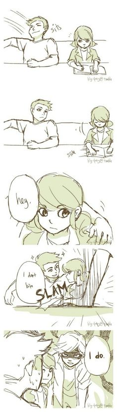 (Miraculous: Tales of Ladybug and Cat Noir) Marinette/Adrien Comics Ladybug, Meraculous Ladybug, Miraculous Ladybug Fanfiction, Miraculous Ladybug Fan Art, Cute Comics, Funny Comics, Ladybug Und Cat Noir, Marinette And Adrien, Adrian And Marinette