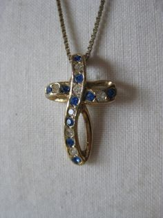 Cross Blue Clear Rhinestone Gold Necklace by vintagejewelryalcove, $14.50
