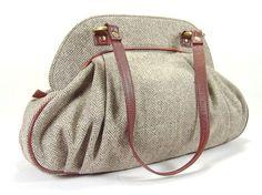 Herringbone Tweed Wool Bag in Brown with Leather