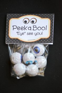 Peek a Boo - Eye See You! 8 free printable Halloween favor bag toppers - free Halloween printables for treat bags, favor bags, ziploc bag, party favors and more