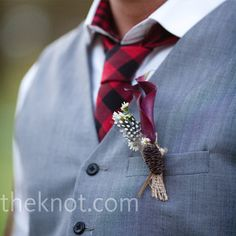 Michael wore a black and red buffalo-plaid tie with a black calla lily and mini daisy boutonniere. Plaid Wedding Dress, Flannel Wedding, Wedding Vest, Red Wedding, Wedding Ideas, Wedding Stuff, Tartan Wedding, Wedding Planning, Wedding Decorations