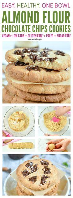 Almond Flour Chocolate Chip Cookies - almond meal, coconut oil, sugar free maple syrup, sea salt flakes, baking soda, stevia sweetened dark chocolate chunks, vanilla extract
