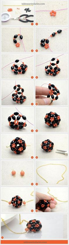 Diy necklace 440226932296708214 - Beaded Necklace Designs – How to Make a Beaded Ball Pendant Necklace for Halloween Source by diannedubois Beaded Beads, Beads And Wire, Beaded Earrings, Beaded Bracelets, Seed Bead Jewelry, Wire Jewelry, Jewelry Crafts, Handmade Jewelry, Jewellery