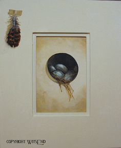 'A WINDOW TO THE WORLD', Bird Eggs painting framed original ooak tromp l'oeil by 4WitsEnd, via Etsy.  SOLD