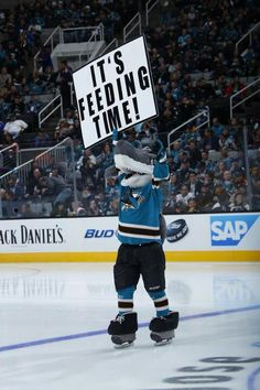 Oh I like this sign hahaha (: Bruins Hockey, Hockey Players, Cool Sharks, Hockey Boards, Stanley Cup Finals, San Jose Sharks, Just A Game, Shark Tank, School Spirit