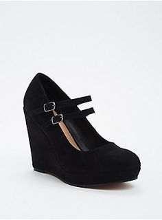 "<div>Chic doesn't even begin to cover it with these wedges, but sumptuous and smooth black faux suede does (literally). A double dose of straps keep the lifted look in line.</div><div><ul><li style=""list-style-position: inside !important; list-style-type: disc !important"">4.5"" heel</li><li style=""list-style-position: inside !important; list-style-type: disc !important"">Man-made materials</li><li style=""list-style-position: inside !important; list-style-type: disc…"
