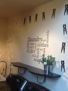 Clothespin Decal Laundry decor vinyl wall art by HouseHoldWords