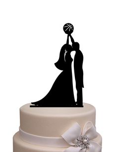 Wedding Cake Topper - silhouette bride and groom playing Basketball