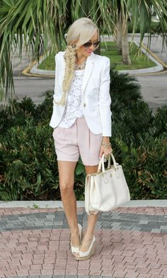 blazer / lace top / shorts