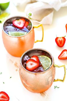 Try this Strawberry Lime Moscow Mule for a twist on the traditional Moscow Mule cocktail featuring fresh strawberries, lime juice, vodka & ginger beer.