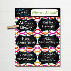 PERSONALIZED Dorm Door Sign, Dorm Room Decorations, College Student Gifts, Personalized Door Hanger, Dorm Sweet Dorm, College Schedule Sign