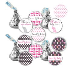 Hershey Kiss stickers - Printable Baby Girl Shower Elephant Candy Labels - Pink Polka Dots - Kiss Sticker - DIY Personalized on Etsy, $8.00