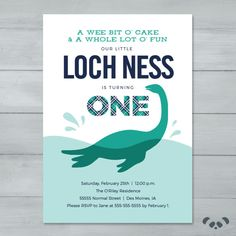 Loch Ness Monster Birthday Party Invitation  by PandafunkCreations