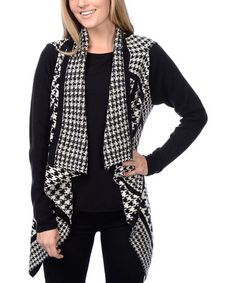 Another great find on #zulily! Black & White Houndstooth Open Cardigan by YAL #zulilyfinds