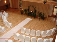 Beautiful Back-up Ceremony set-up inside the pavilion. Our afternoon weather can be unpredictable having a local full service caterer can make your day! They will quickly transform the room in no time! Indoor Ceremony, Festival Wedding, Ceremony Decorations, Here Comes The Bride, Pavilion, Wedding Designs, Tent, How To Memorize Things, Dream Wedding