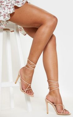 Nude Strappy Tie Sandal Every shoe-drobe needs a pair of nude strappy heels and these sandals tick all the boxes. Faux Leather Tie-up Heel Nude Strappy Heels, Gladiator Sandals Heels, Nylons Heels, Stiletto Heels, High Heels, Stilettos, Killer Legs, Fashion Heels, Steampunk Fashion