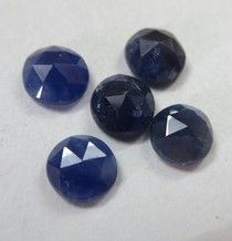 rose cut 5 mm - 6 mm round 5 pcs lots NATURAL genuine blue SAPPHIRE AA quality top rose cut...