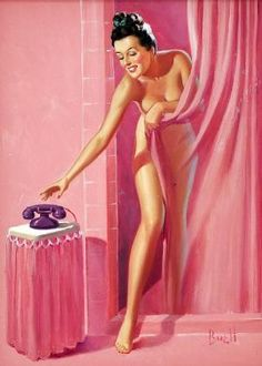 Pin-up illustration by Al Buell c. 1950s by debbie