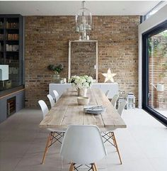 A modern farmhouse dining room might just be the dining room design of your dreams. A farmhouse dining room is a gorgeous dining room design that has a very bright tone. It is a combination of a traditional dining house… Continue Reading → Dining Room Design, Dining Room Table, Dining Area, Dining Decor, Kitchen Decor, Small Dining, Kitchen Brick, Console Table, Kitchen Chairs