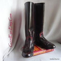 5d66b71bab87 Size 9 .5 Vintage Justin Riding Boots / Eu 41 UK 6 .5 / OMBRE Black Maroon  Leather / Equestrian Rope