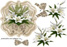 beautiful lillies design in gorgeous white colors on a satin background