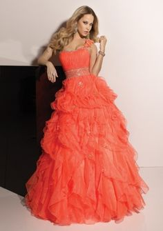 2012 Style Ball-Gown One Shoulder Rhinestone Sleeveless Floor-length Organza Prom Dress / Evening Dress