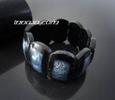 Bransoletka na gumce czarno niebieska z Bali