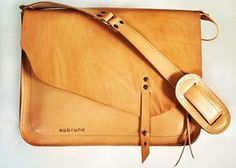 Handmade tan leather satchel / slingbag for the ladies by Xobruno - with cute little buttons - asymmetrical design Leather Satchel, Tan Leather, Leather Purses, Leather Totes, Satchel Bag, Leather Bags Handmade, Handmade Bags, Couture Cuir, Sacs Design