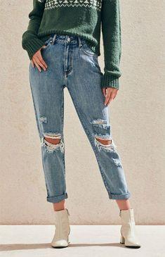 01d32b0714a New Womens Pacsun Los Angeles Boyfriend Distressed Blue Denim Jeans Size 28 x  27  PacSun
