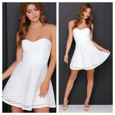 Ivory Strapless Skater Dress Brace yourself for the eye-catching, jaw-dropping Ivory Strapless Skater Dress! Striped honeycomb mesh tops a soft knit liner beginning at a fitted, strapless bodice with light padding and flattering princess seams. From the fitted waist, a classic skater skirt descends, completing this ultra-cute number! Exposed pewter zipper at back. Fully lined. 100% Polyester. Hand Wash Cold or Dry Clean. Made with Love in the U.S.A Lulu's Dresses