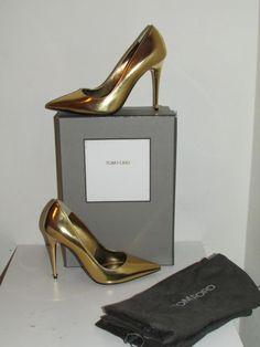 a1375517c21 Auth NIB  940 Tom Ford Metallic Gold Leather Pin-Heel Pumps Heels sz 40