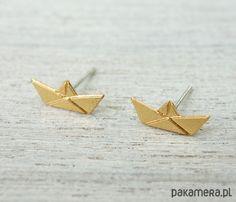 kolczyki - inne-Złote wkrętki paper boat